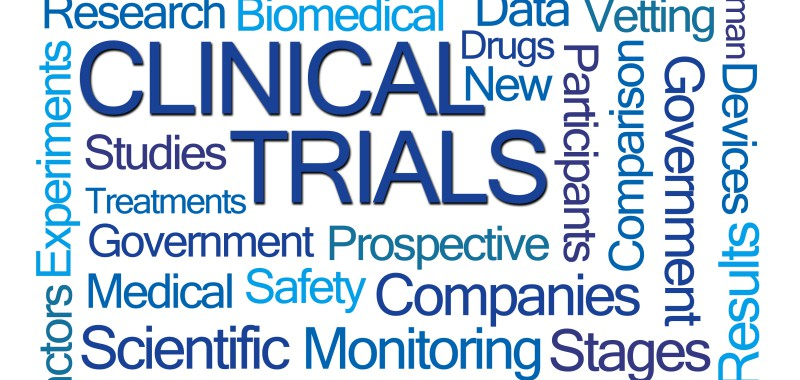 Clinical Trials Word Cloud on White Background